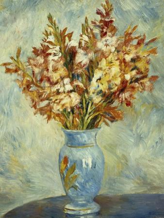 Gladioli in Blue Vase by Pierre-Auguste Renoir