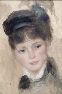 Jeune femme au chapeau noir by Pierre-Auguste Renoir