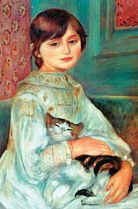 Jilie Manet with Cat by Pierre-Auguste Renoir