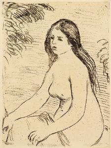 Nude bather, 1906 (etching) by Pierre Auguste Renoir