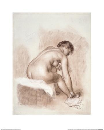 Nude Woman Sitting, Drying Her Right Foot