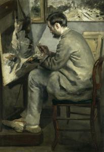 """Portrait de Frédéric Bazille (1841-1870), peignant """"le héron aux ailes déployées"""" by Pierre-Auguste Renoir"""