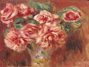 Roses in a Vase, circa 1890 by Pierre-Auguste Renoir