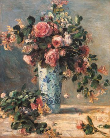 Roses & Jasmine in a Delft Vase, 1881