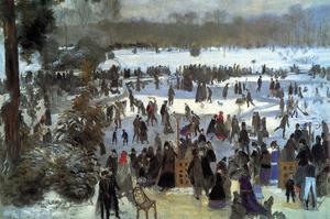 Skating Runners in the Bois De Bologne by Pierre-Auguste Renoir