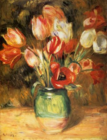 Tulips in a Vase by Pierre-Auguste Renoir