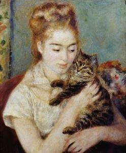 Woman with a Cat by Pierre-Auguste Renoir