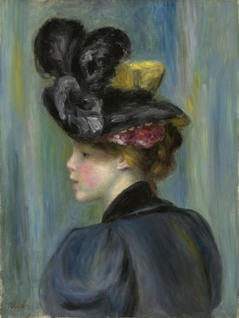 Young Woman with Black Hat, Jeune Femme Au Chapeau Noir, 1895 by Pierre-Auguste Renoir