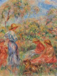 Zwei sitzende und eine stehende Frau, ein Kind (Landschaft mit drei Frauen und einem Kind) by Pierre-Auguste Renoir