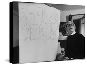 """Elmyr de Hory, Standing Next to the Forged """"Matisse"""" That He Made by Pierre Boulat"""