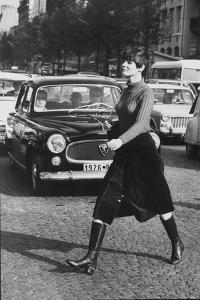 Maxi Skirt Worn by Model Linda Morand by Pierre Boulat