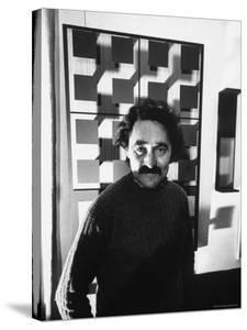 Venezuela Kinetic Artist Jesus Raphael Soto, in His Paris Apartment by Pierre Boulat