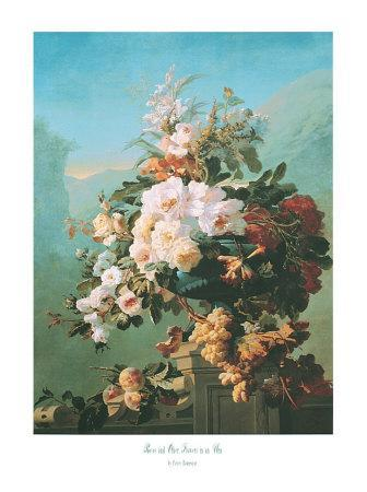 Roses and Other Flowers in an Urn