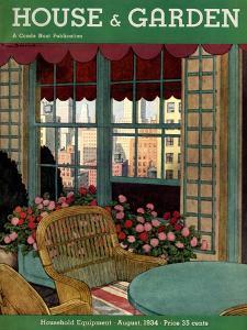 House & Garden Cover - August 1934 by Pierre Brissaud