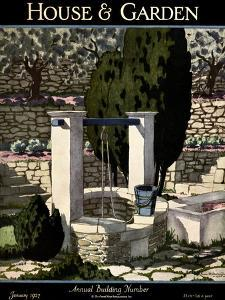 House & Garden Cover - January 1927 by Pierre Brissaud