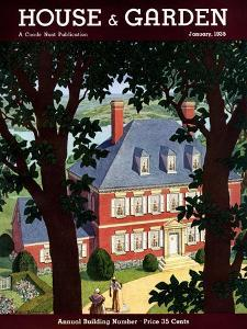 House & Garden Cover - January 1935 by Pierre Brissaud