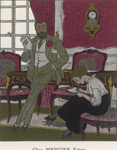 Secretary Takes Dictation from Her Boss in a Sumptuous Office by Pierre Brissaud