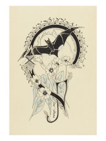 Lettre  ornée  G , avec une chauve-souris et des fleurs