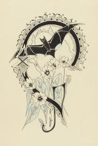 Lettre  ornée  G , avec une chauve-souris et des fleurs by Pierre Brun