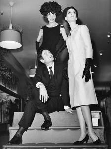 Pierre Cardin, Italian-Born French Fashion Designer, with Models at Bonwit Teller