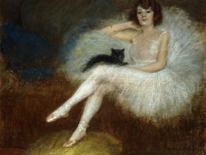 Ballerina with a Black Cat by Pierre Carrier-belleuse