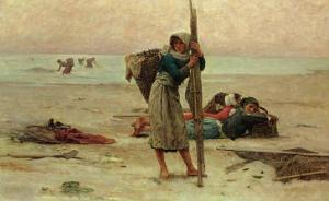 Oyster Catching, 1884 by Pierre Celestin Billet