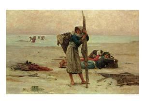 Oyster Catching, 1884 by Pierre Celestin Billet