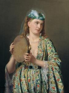 Portrait of a Lady of the Court Playing the Tambourine, Second Half of the 19th C by Pierre D?sir? Guillemet