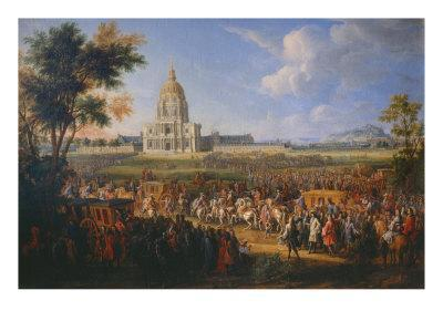 Visit of King Louis XIV at the Hotel Royal des Invalides on July 14, 1701