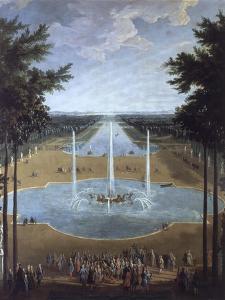 Vue du bassin d'Apollon et du Grand Canal de Versailles en 1713, au premier plan : Louis XIV à la by Pierre Denis Martin