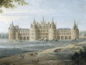 Vue du château de Chambord vers 1722 - au premier plan, le duc d'Orléans, Régent, donnant ses by Pierre Denis Martin