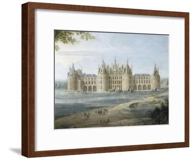 Vue du château de Chambord vers 1722 - au premier plan, le duc d'Orléans, Régent, donnant ses