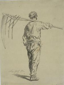 Reaper Carrying a Scythe on His Shoulder, Back View by Pierre Edmond Alexandre Hedouin
