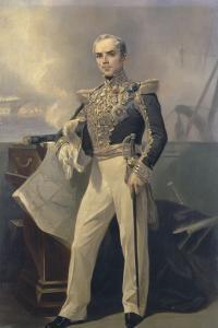 Portrait d'Armand-Joseph, amiral Bruat (1796-1855)- représenté commandant en chef de l'escadre de by Pierre François Eugène Giraud