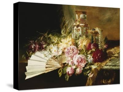 A Fan with Roses, Daisies and a Famille Rose Vase on a Draped Table, 1881