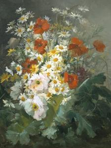 Still Life of Daisies and Poppies by Pierre Gontier
