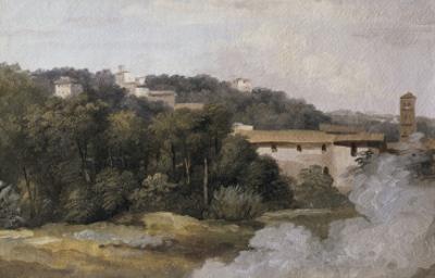 A la villa Farnèse : les maisons sur la colline by Pierre Henri de Valenciennes