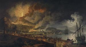 Eruption du Vésuve et vue de Portici by Pierre Jacques Volaire