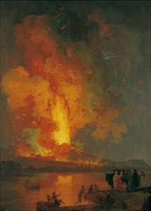 Eruption of Vesuvius, Pierre-Jacques Volaire, 18th C. People Watch from across Gulf of Naples by Pierre-Jacques Volaire