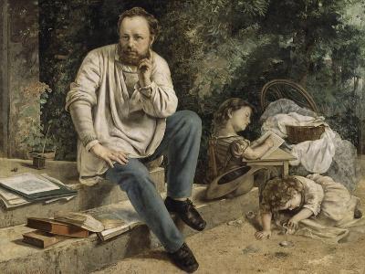 Pierre-Joseph Proudhon et ses enfants en 1853-Gustave Courbet-Giclee Print