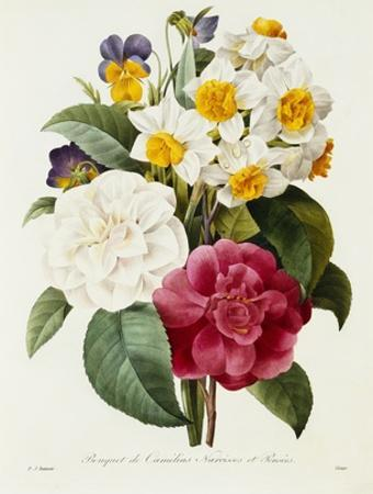 Bouquet of Camellias, Narcissus, and Pansies