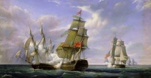 """Combat Between the French Frigate """"La Canonniere"""" and the English Vessel """"The Tremendous"""" by Pierre Julien Gilbert"""