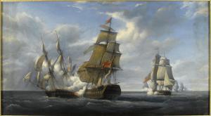 Combat de frégate française Canonnière contre vaisseau anglais Tremendous, 21 avril 1806 by Pierre Julien Gilbert