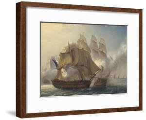 Combat du vaisseaux français le Romulus contre trois vaisseaux anglais à l'entrée de la rade de by Pierre Julien Gilbert