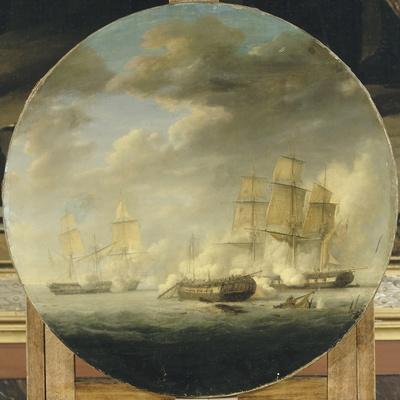 """Combat naval entre la frégate française """"la Pomone"""" commandée par le capita"""
