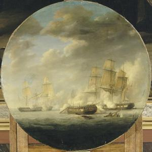 """Combat naval entre la frégate française """"la Pomone"""" commandée par le capita by Pierre Julien Gilbert"""