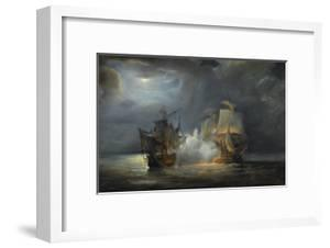 """Combat naval entre la frégate """"la Vénus"""" commandée par le capitaine Hamelin contre la frégate by Pierre Julien Gilbert"""