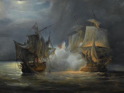 """Combat naval entre la frégate """"la Vénus"""" commandée par le capitaine Hamelin contre la frégate"""