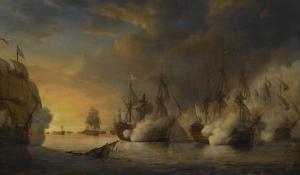 """Combat naval entre le vaisseau français """"l'Intrépide"""" commandé par le comte de Vaudreuil, by Pierre Julien Gilbert"""