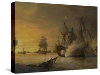 """Combat naval entre le vaisseau français """"l'Intrépide"""" commandé par le comte de Vaudreuil,"""